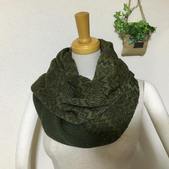 編み込みスヌード オリーブグリーン