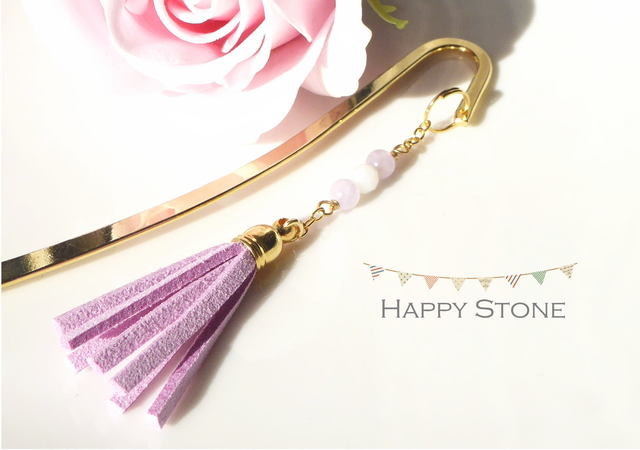 Purple*天然石とタッセルのブックマーカ...