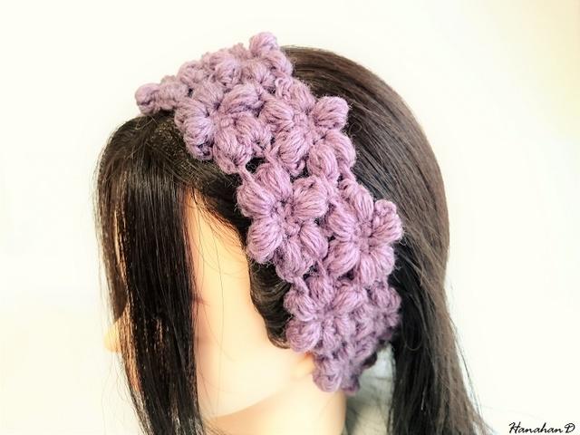 お花のヘアバンド 手編みウールパープル