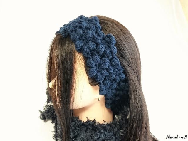 お花のヘアバンド 手編みウールネイビー