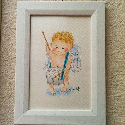 太鼓天使 色鉛筆原画