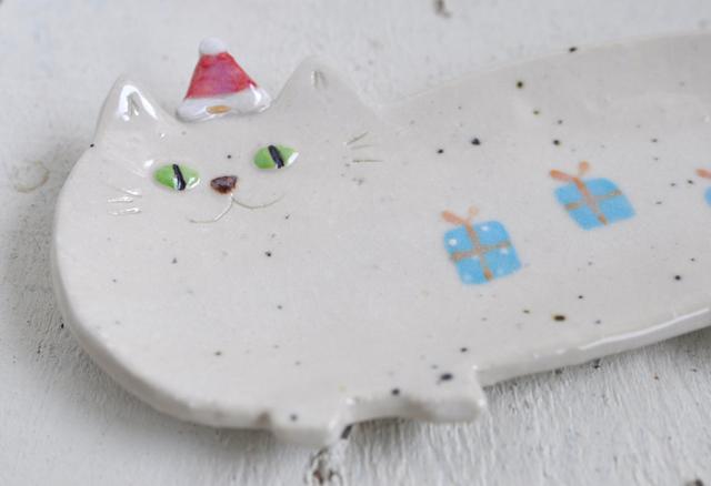 しろ猫の長皿 ~X'mas~(小)