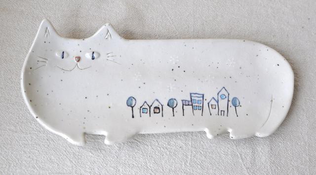 ゆき猫の長皿(特大) SNOW-TOWN (大)