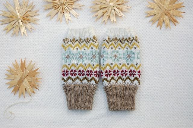 手編みの指なしミトン 【Disegno fiori...