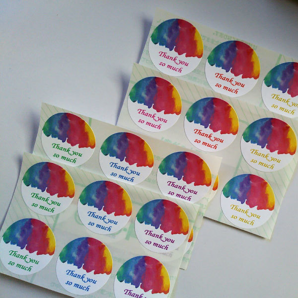 虹色水彩模様のサンキューシール48枚