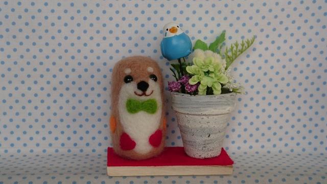 ハートいっぱい柴犬ちゃん(花鉢付き)