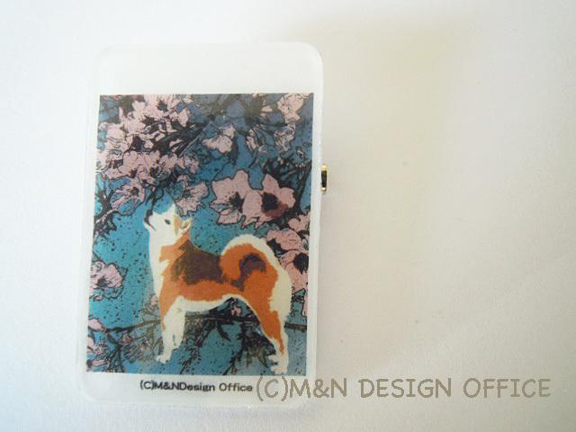 「柴犬と桜」イラストブローチ