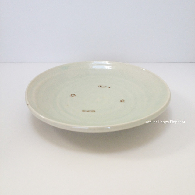 お星様とおさかな模様の小皿