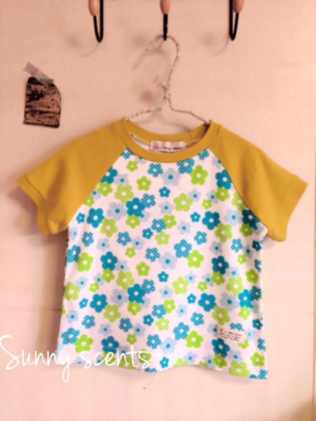 コットンスムースのラグランTシャツ 花柄×マスタード 100cm