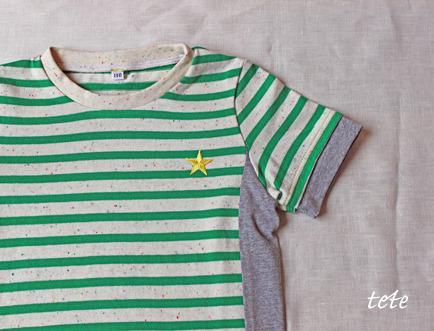 【size110】重ね着風Tシャツ〈カラフルネップボーダー・グリーン〉
