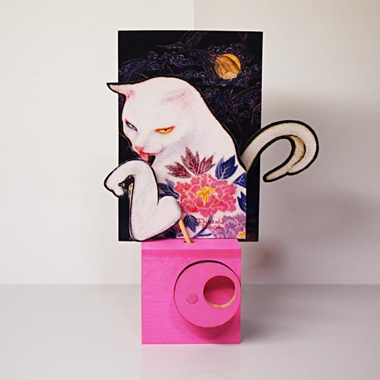 工作キット ツインクランク コラボ作品01「牡丹猫」