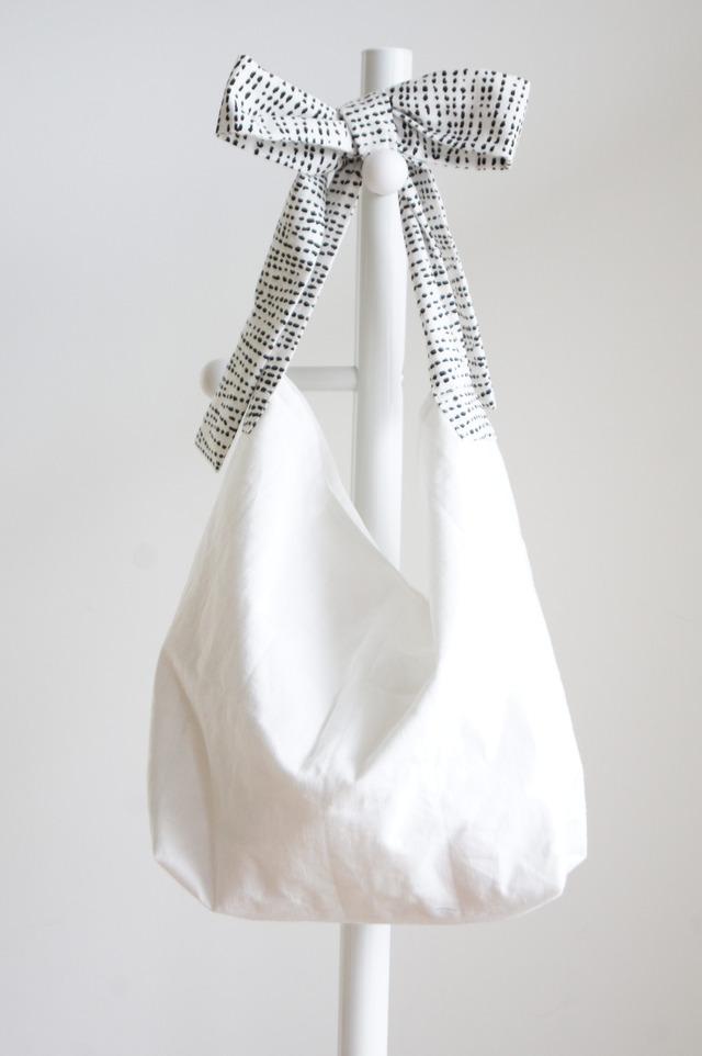 【L】リネンキルティングリボンのバッグ(てんてんもよう )