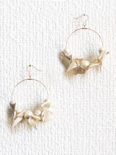ribbon & cottonpearl pierce 【ゴールド】