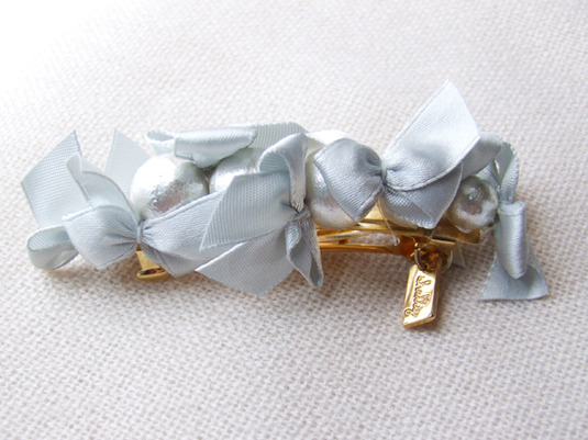 ribbon & cottonpearl barrette 【シルバー】