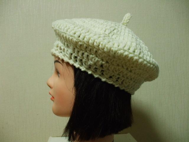 ニットベレー帽 成人女性用 オフホワイト