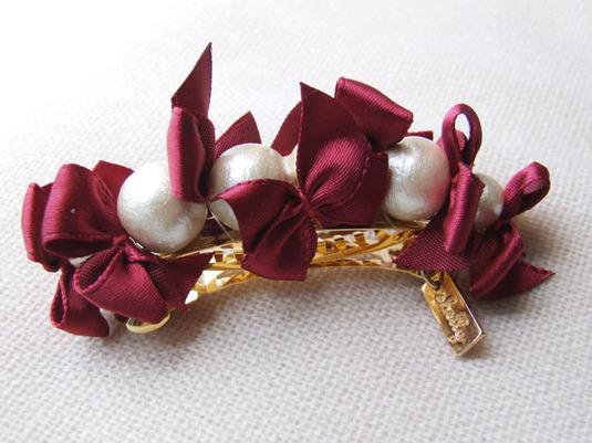 ribbon & cottonpearl barrette 【ボルドー】