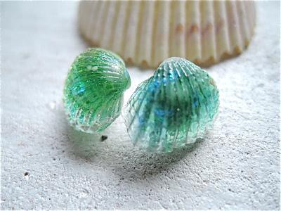 貝殻のピアス Blue lagoon