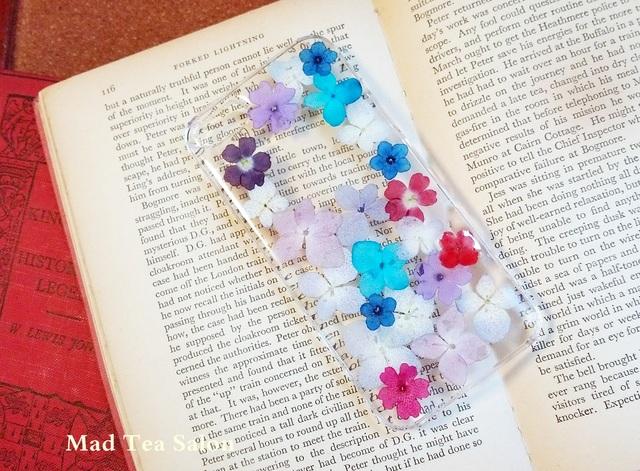 紫陽花とアップルマークのiphone5.5sカバー