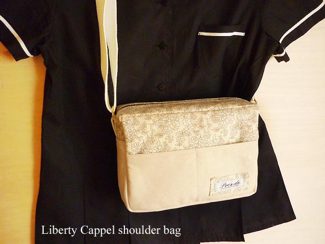 リバティ カペル 帆布◆ショルダーバッグ◆ベージュ 白