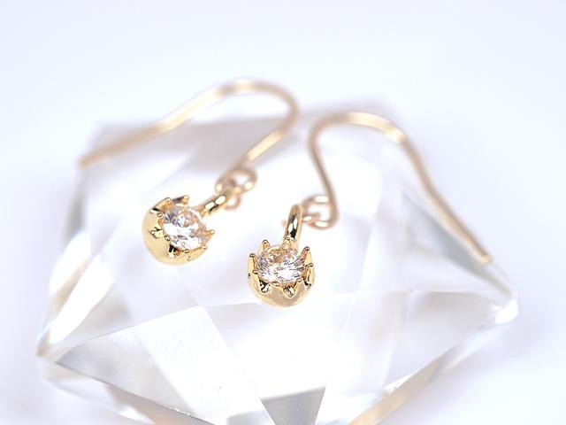 14KGF Cubic Zirconia Petit Earrings