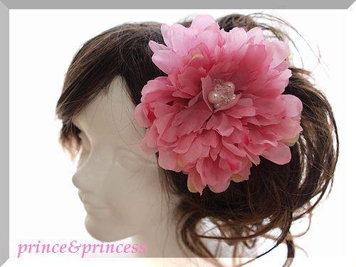 ピンク牡丹(ピオニー)の髪飾り