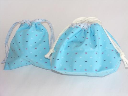 お弁当袋とコップ袋   四角と水玉模様
