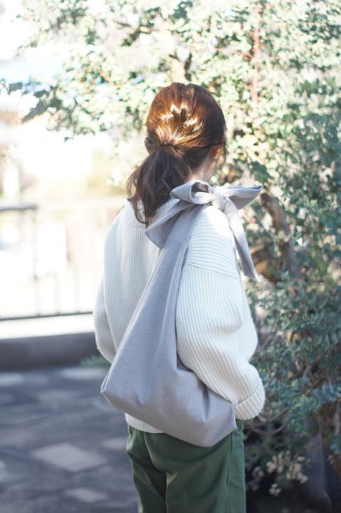 【再販】綿麻リボンのバッグ(グレー)