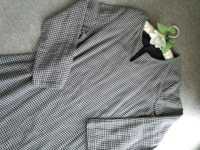Lサイズ Wガーゼの白黒のチェックのAラインのチュニック