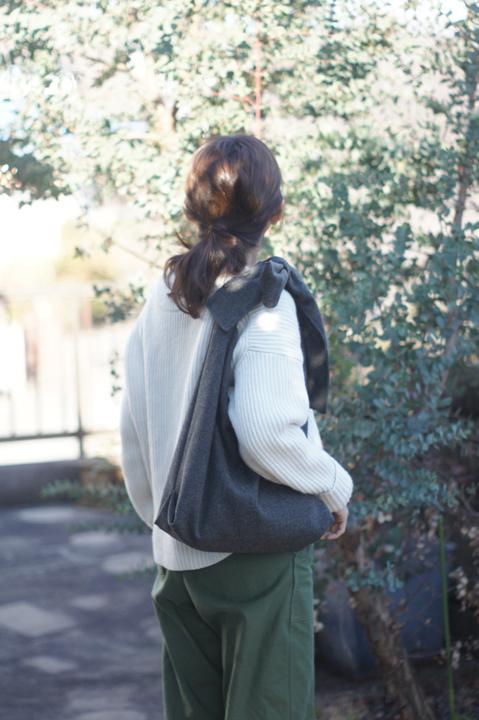 【限定】woolのリボンのバッグ(グレー)