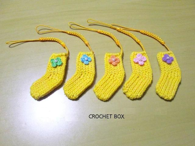 ミニ靴下ストラップ  黄色