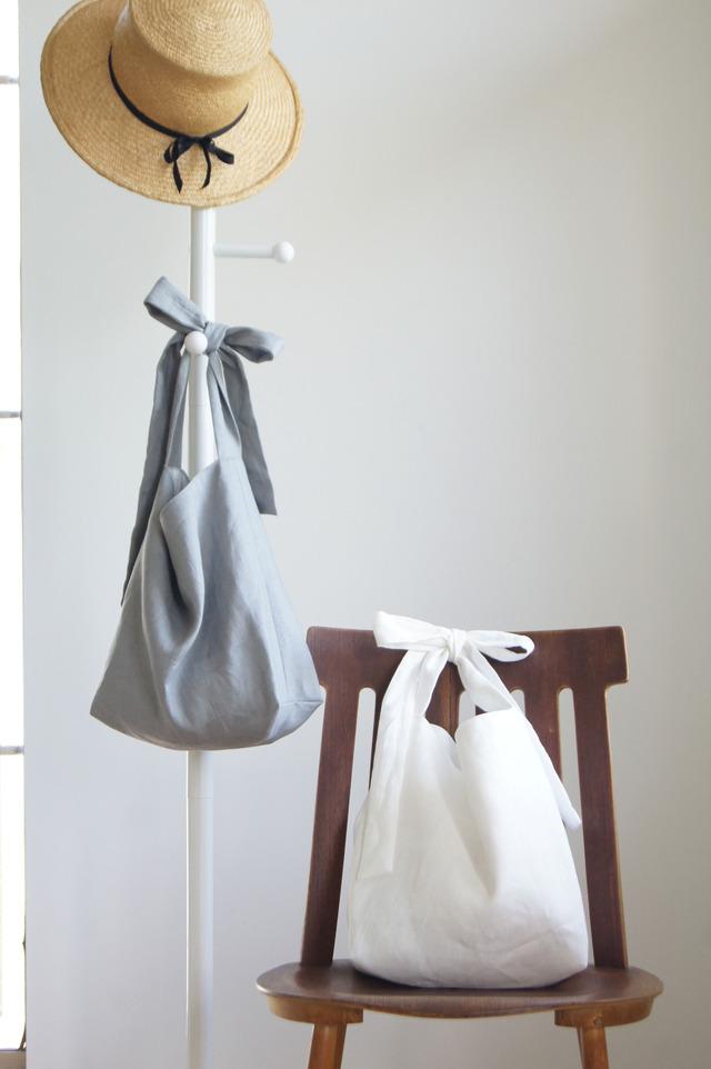 【受注製作】リネンリボンのバッグ(ホワイト)