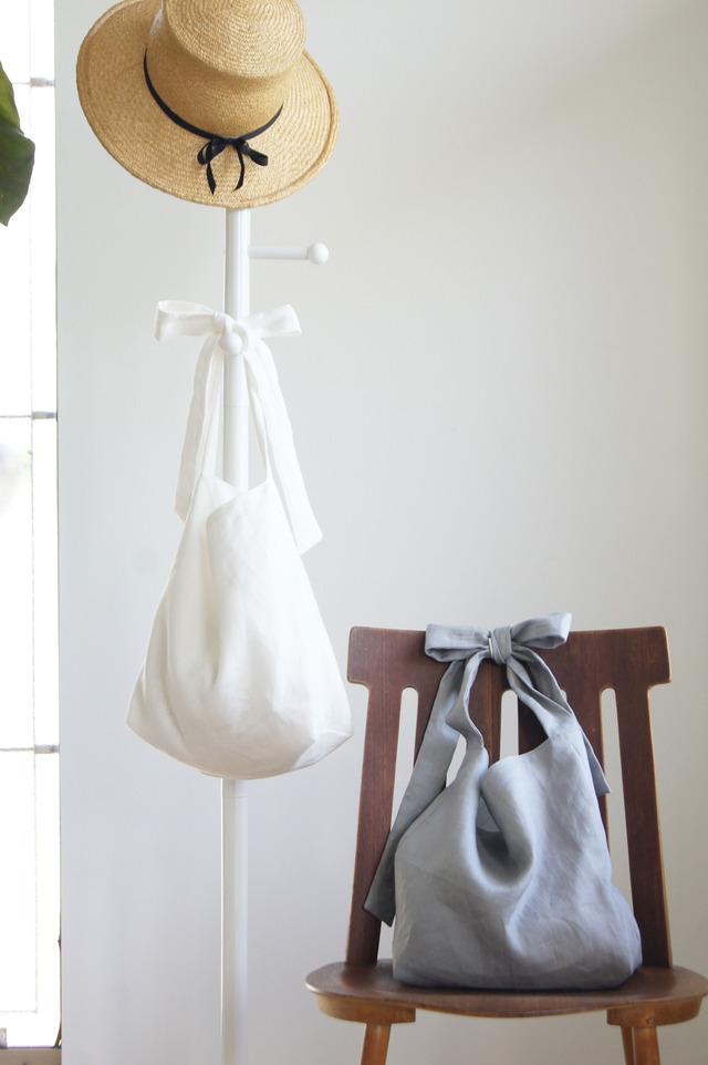 【受注製作】リネンリボンのバッグ(グレー)