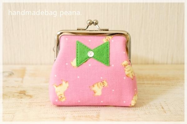 ☆アルパカとリボンのがまぐちコインケース/ピンク☆