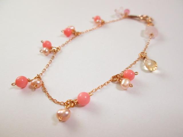 《送料無料》 ピンク珊瑚ちりりブレスレット
