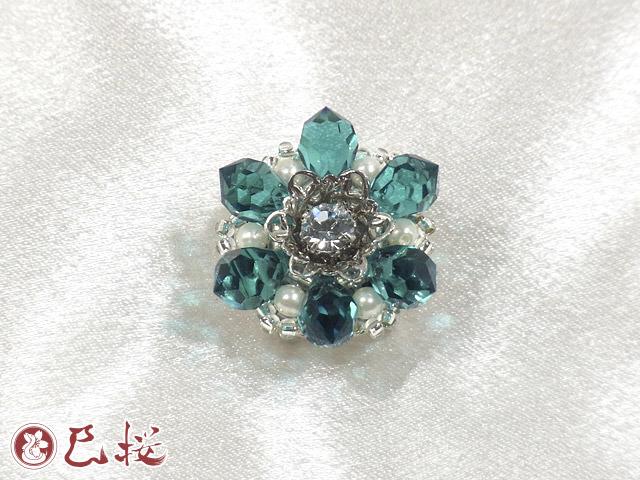 輝く花の帯留-青緑(四分紐用)