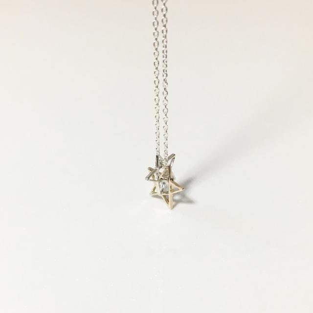 シルバー ×K10星ネックレス