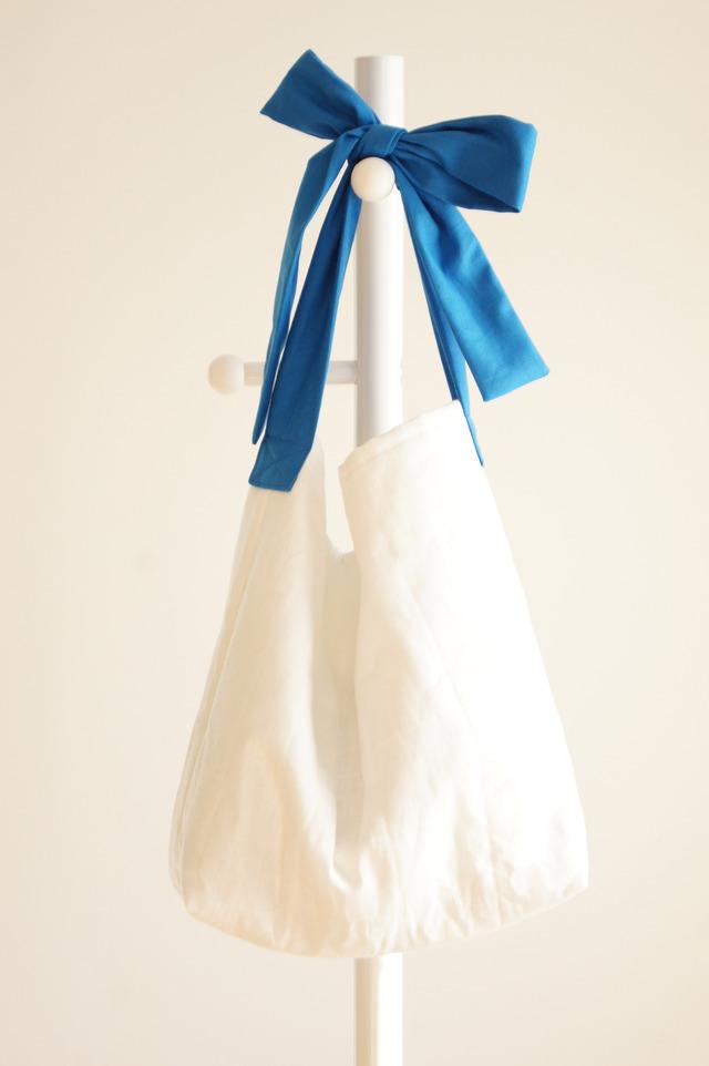 【L】リネンキルティングリボンのバッグ(ブルー )