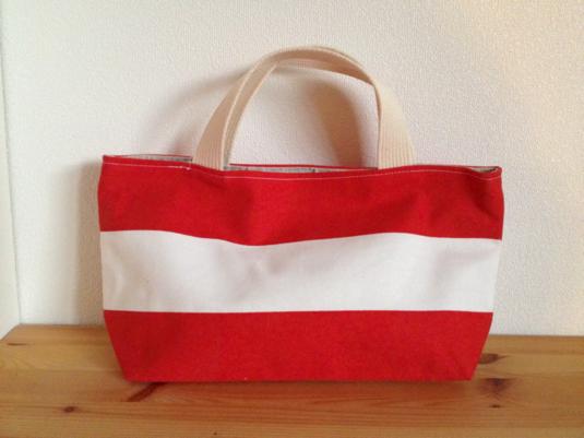 しましまのミニトートバッグ (赤×白)