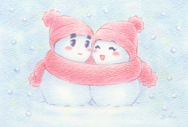 ラブラブ雪だるま(161223)★手描き原画★