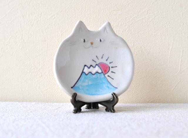 富士さん猫の小皿 『初夢2017』