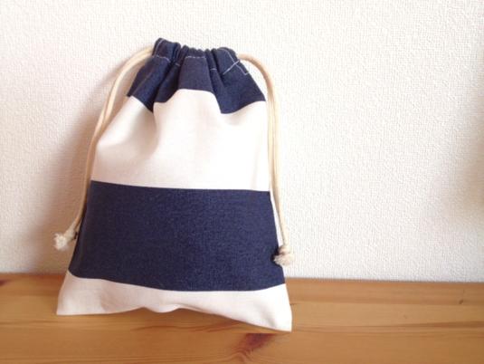 しましまのプチ巾着 (紺×白)