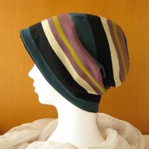 ゆるいリバーシブル帽子 多色ボーダー/黒起毛(CSR-005-B)
