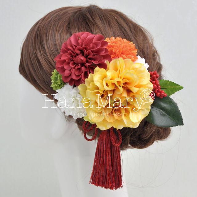 NEWオレンジ ダリアの髪飾り