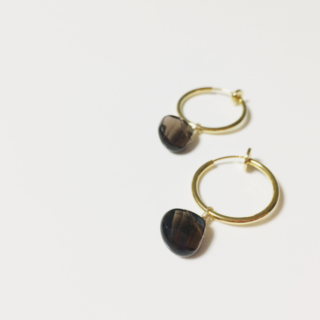 Earth Drop Earring「smokey quartz」