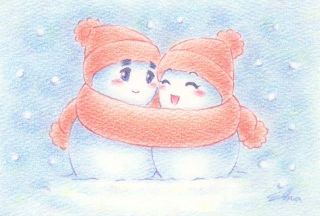 ラブラブ雪だるま(161228)★手描き原画★