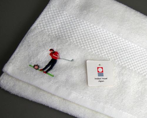 ゴルフ刺繍のフェイスタオル