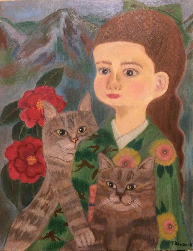 「少女、猫、椿」