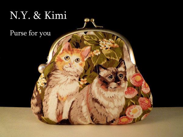 *USA 猫ちゃん&お花柄 がま口 ポーチ *