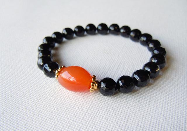 縞メノウのワンポイントブレスレット/オレンジ