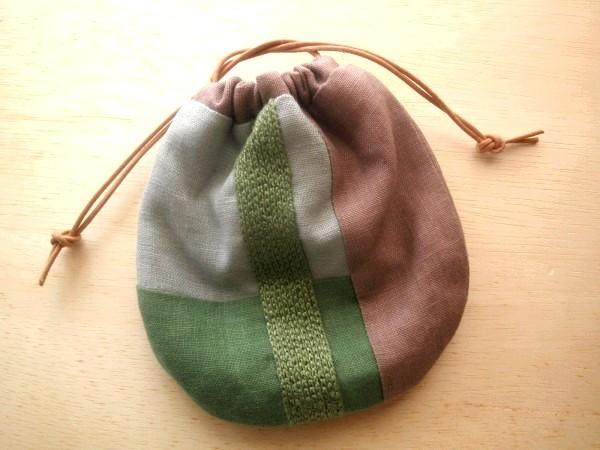 itoiro 巾着ポーチ (緑)
